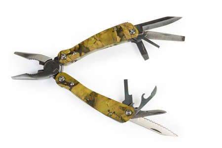 Multi-tool with folding mechanism in balisong-style and open pliers and other different tools on a white background, top view