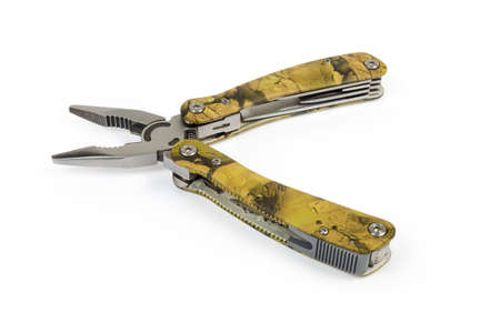 Open multi-tool with folding mechanism in balisong-style in form of pliers on a white background