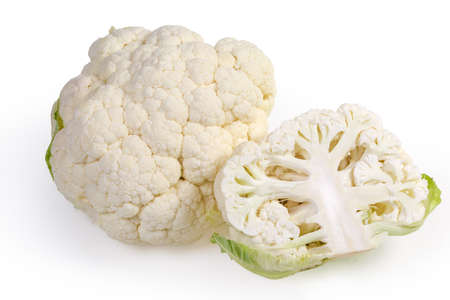 Whole and half of fresh cauliflower head with dew on a white background