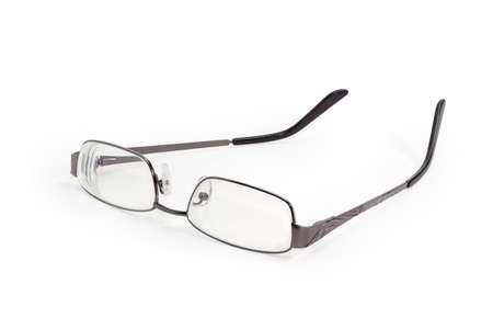 Modern eyeglasses in metal gray rim with open temples on a white background