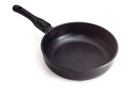 Modern empty cast frying pan, made of aluminum alloy with ceramic non-stick coating and removable handle on a white background Stock fotó