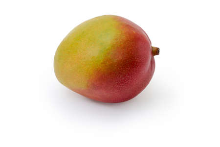 Single whole ripe mango fruit on a white background