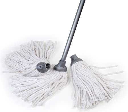Classic mop with head in the form of cotton yarn rope segments bundle and metal tubular handle, two additional replaceable working heads with threaded connection on a white background