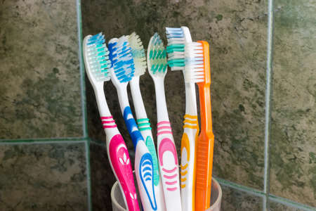 Several different toothbrushes in a stand on a background of wall in bathroom covered with green tile