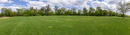 Big glade in spring park with different deciduous and coniferous trees on a backround, panoramic view