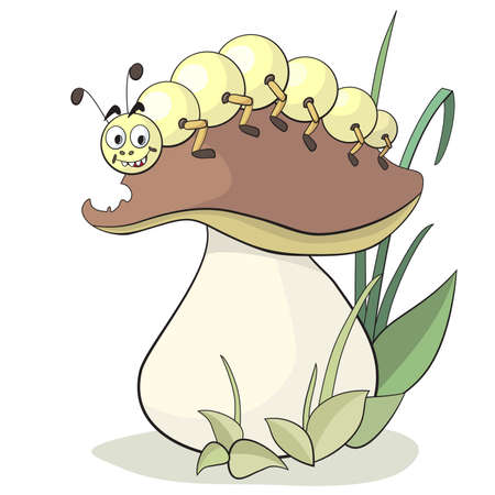 cartoon larva: Illustration of yellow caterpillar and mushroom Illustration