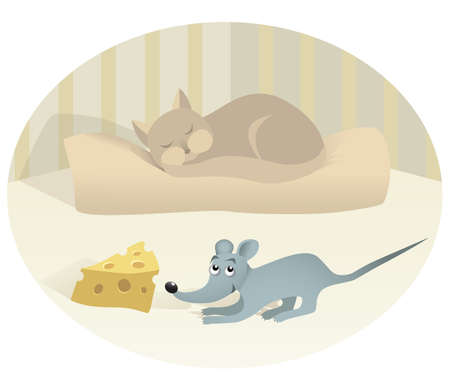 Mouse with cheese and sleeping cat