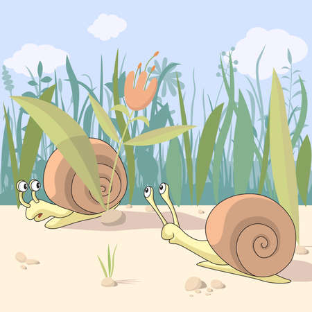 Illustration of two cute snails Illustration