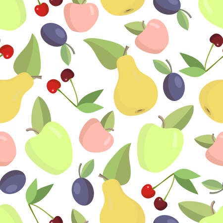 Fruit seamless background in bright colors Illustration