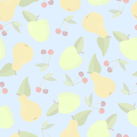 Fruit seamless background in pastel colors Illustration