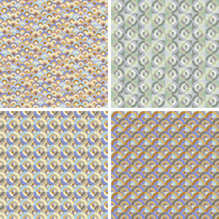 Set of four seamless patterns with circles