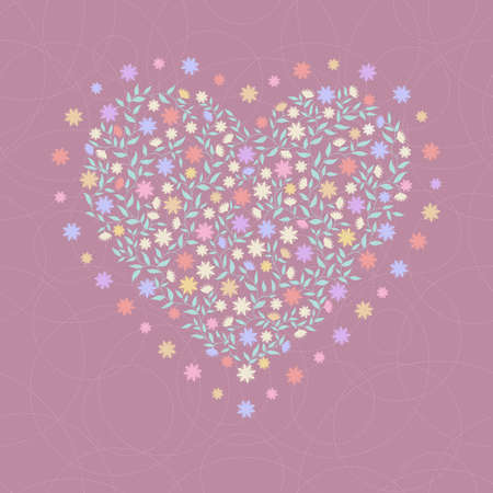 Decorative color background with heart Vector
