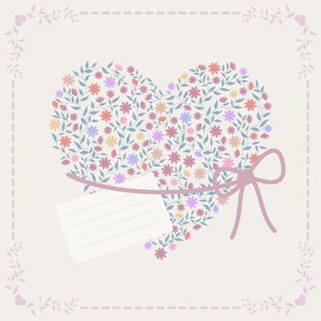 Color background with heart and frame Stock Vector - 11666384