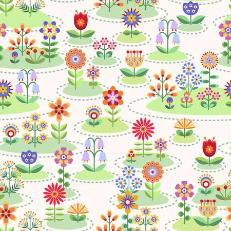 De fondo sin fisuras con jardines de flores