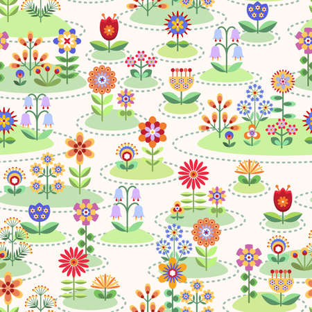 flowerbed: Seamless background with flower gardens Illustration