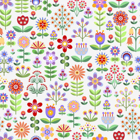 mauve: Seamless pattern with colorful flowers