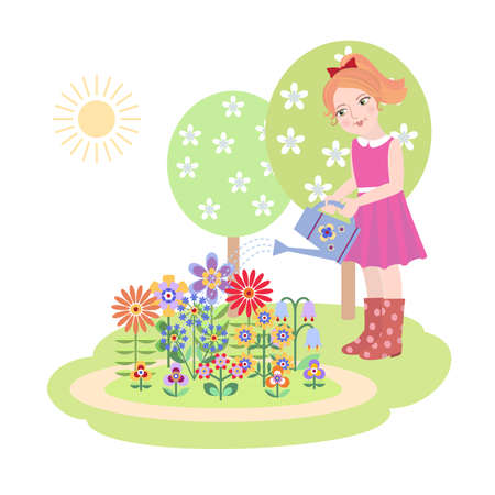 watering: Illustratie van een schattig meisje het besproeien van de bloemen