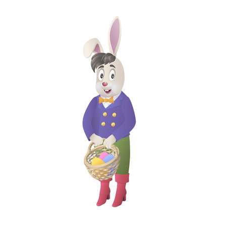 Carino coniglietto tenendo cesto con le uova