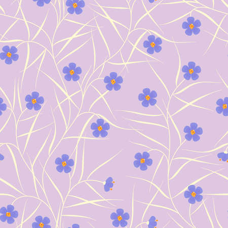 branching: Floral seamless pattern with blue flowers
