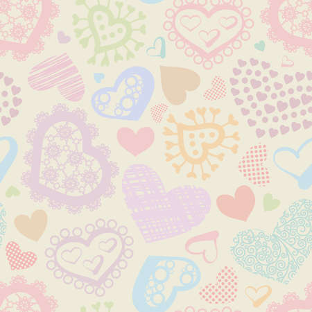 Seamless background with color hearts Illustration