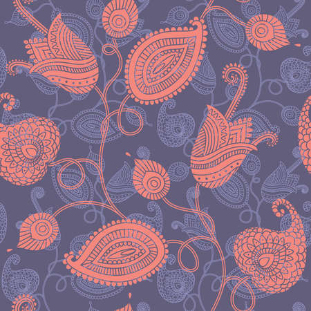 Ornate seamless background with decorative flowers Vector