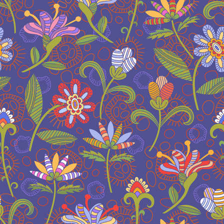 bright: Seamless pattern with bright flowers