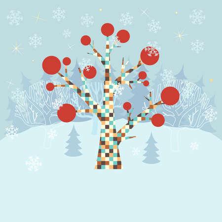 Winter background di Natale con albero ornamentale Vettoriali