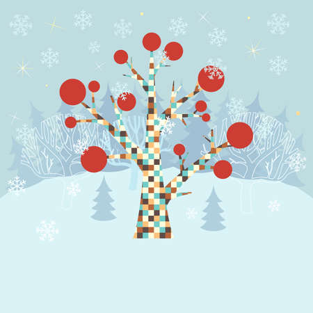 Winter christmas background with ornamental tree