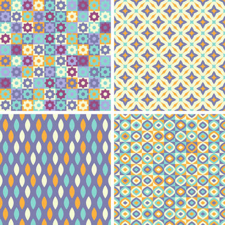 Set of four seamless colorful patterns