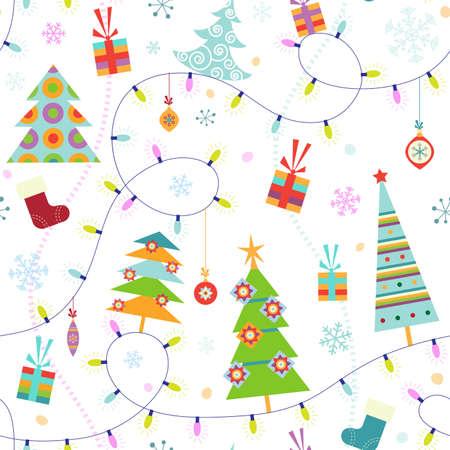 Navidad sin patr�n con abetos y luces Vectores