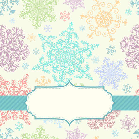Background with multicolored snowflakes and frame