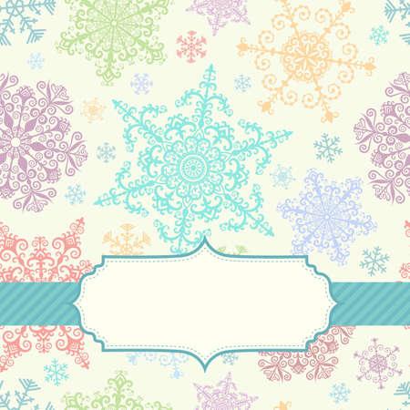 papel tapiz turquesa: Fondo con los copos de nieve multicolores y el marco Vectores