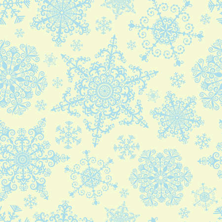 Seamless pattern with decorative snowflakes