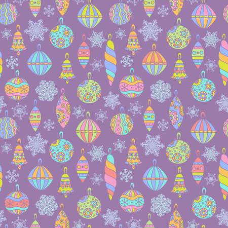 christmas motif: Christmas seamless pattern with balls Illustration