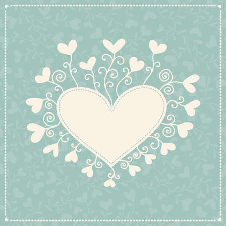 Romantic background with hearts and frame