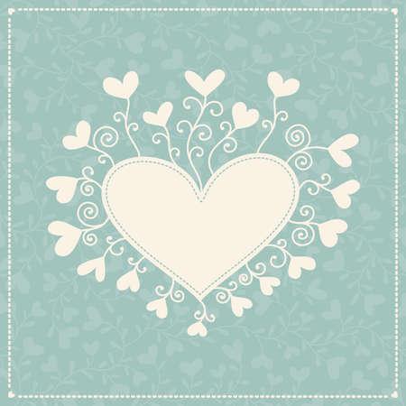 Sfondo romantico con cuori e telaio Vettoriali