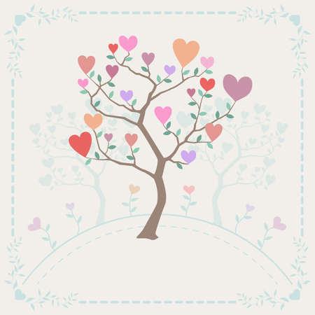 branched: Cute background with trees and hearts