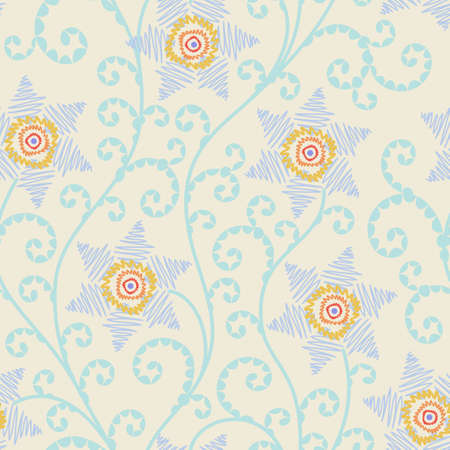 branched: Floral seamless pattern in pastel colors