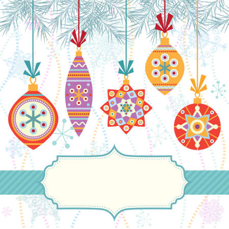 Christmas background with frame and colorful balls