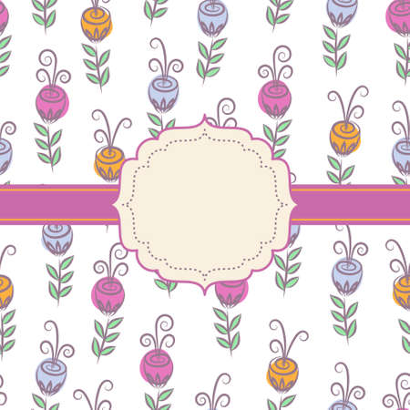 Decorative background with flowers and frame Illustration