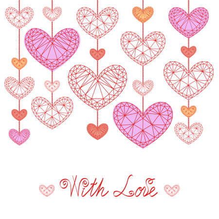 Romantic background with red hearts on a white background Vector