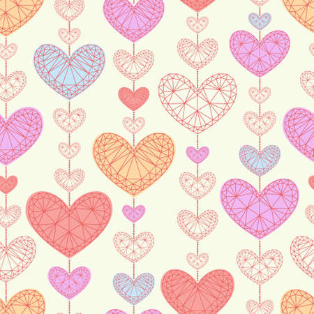Seamless background with multicolored hearts in pastel colors Vector