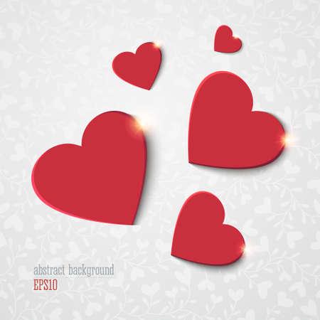 Fondo abstracto con corazones rojos Vectores