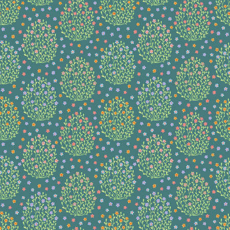 Seamless pattern with eggs from flowers on turquoise background Vector