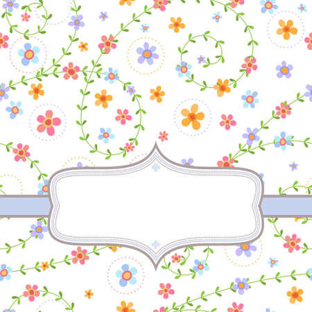 Decorative background with frame and multicolored flowers on white