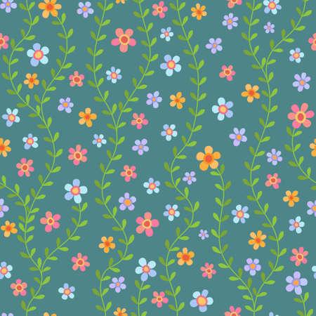 Colorful seamless con fiori multicolore su sfondo turchese