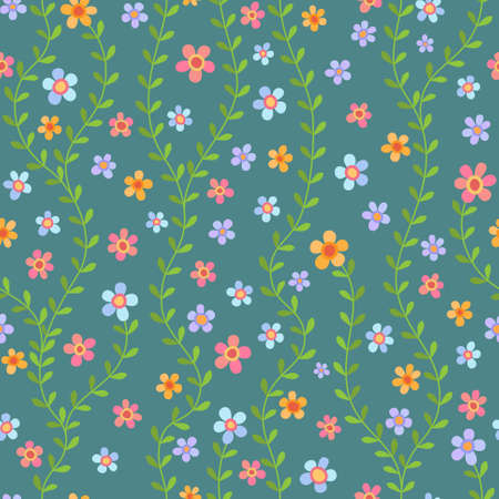 Colorful seamless pattern with multicolored flowers on turquoise background Illustration