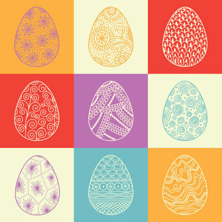 Decorative Easter patterned eggs on colorful multicolored background  Vector