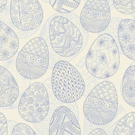 leaden: Monochrome seamless background with decorative patterned Easter eggs