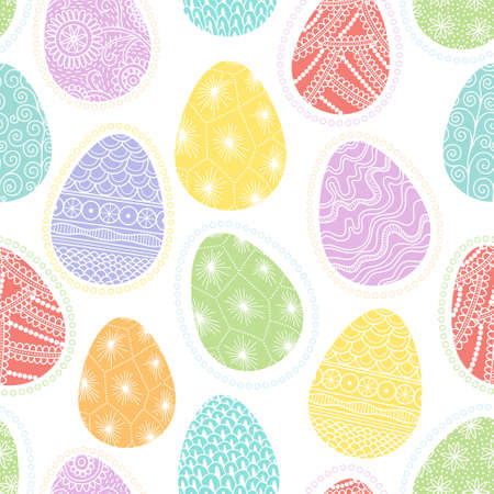 Seamless pattern with different decorative multicolored Easter eggs Vector
